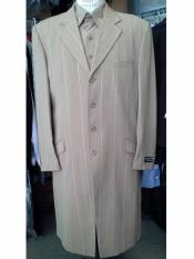 JSM-191 Mens 4 Button Long Zoot Khaki Striped Notch