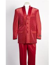 JSM-482 Mens 4 Button Shiny Single Breasted Red Suit