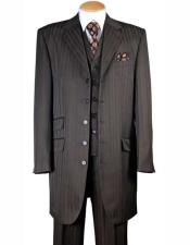 JSM-1181 Mens 4 Buttons Notch Lapel 3 Piece Brown