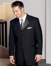 JSM-3776 Mens 4 Buttons 100% Wool Black Tuxedo Style