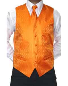 Four-Piece Orange Microfiber Vest Set