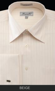 DAK72 French Cuff Dress Shirt - Herringbone Tweed Stripe