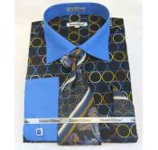 JSM-519 Mens Bold Black Blue Circle Multi Pattern Cotton