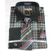 JSM-501 Mens Black French Cuff Bold Window Pane Pattern