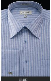 MK669 Fratello French Cuff Blue Dress Shirt - Herringbone