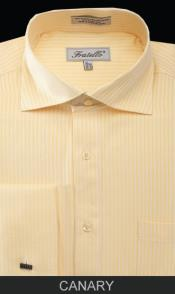 VSD3 French Cuff Dress Shirt - Classic Stripe Canary