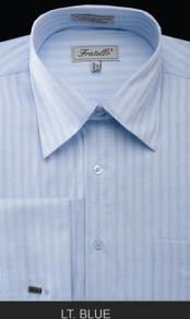MK673 Fratello French Cuff Light Blue Dress Shirt -