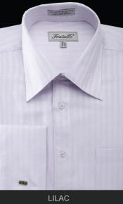 HAX73 French Cuff Dress Shirt - Herringbone Tweed Stripe