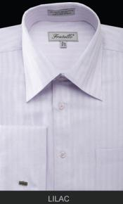 MK674 Fratello French Cuff Lilac Dress Shirt - Herringbone