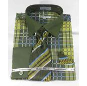 JSM-499 Mens Dark Lime Bold Window Pane Pattern French