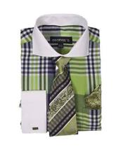 JSM-631 Mens Lime Two Toned Plaid Window Pane Pattern