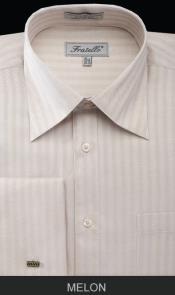 QD231 French Cuff Dress Shirt - Herringbone Tweed Stripe