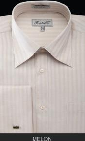 MK675 Fratello French Cuff Melon Dress Shirt - Herringbone