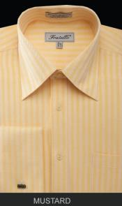 PKM54 French Cuff Dress Shirt - Herringbone Tweed Stripe