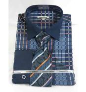JSM-500 Mens Navy Blue Bold Window Pane Pattern French