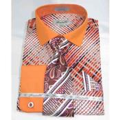JSM-494 Mens Orange Geometric Multi Pattern Cotton French Cuff