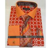 JSM-504 Mens Orange Interlocking Ring Pattern French Cuff Cotton