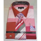 JSM-510 Mens Cotton Pink Multi Colored Block Pattern French