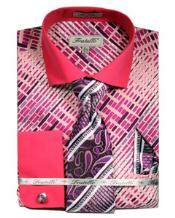 JSM-2788 Mens French Cuff Dress Fuchsia Pattern Shirts Tie