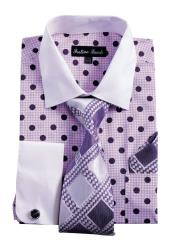 SM4995 Mens White Collared French Cuff Polka Dot Dress
