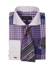 JSM-628 Mens Purple Two Toned Long Sleeve White Collar