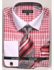CH2290 Mens white Collared French Cuffed Red Dress Shirt