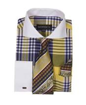 JSM-630 Mens Gold Two Toned Contrast Plaid Long Sleeve