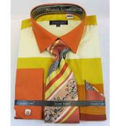 JSM-513 Mens French Cuff Cotton Yellow Multi Colored Block