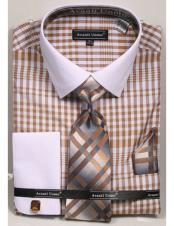 CH2286 Mens white Collared French Cuffed Beige Dress Shirt