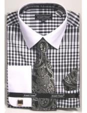 CH2285 Mens white Collared French Cuffed black Dress Shirt