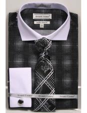 CH2297 Mens Black woven design white Collared French Cuffed
