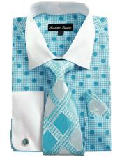 CH2221 Mens White Collared French Cuffed Blue Dress Shirt
