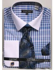 CH2287 Mens white Collared French Cuffed Blue Dress Shirt