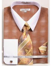 CH2282 Mens white Collared French Cuffed Brown woven design