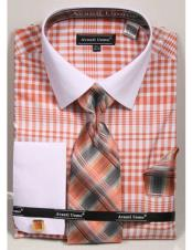CH2288 Mens white Collared French Cuffed Coral Dress Shirt