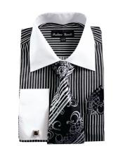 CH2226 Mens White Collared French Cuffed Dress Black Shirt