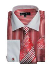 CH2223 Mens White Collared French Cuffed Dress Red Shirt