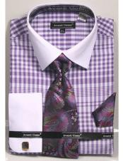CH2289 Mens white Collared French Cuffed Lavender Dress Shirt
