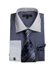 CH2227 Mens White Collared French Cuffed Navy Dress Shirt