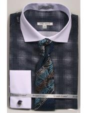 CH2296 Mens woven design white Collared French Cuffed navy