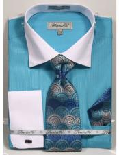 CH2279 Mens white Collared French Cuffed Turquoise Dress Shirt