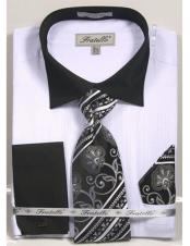 CH2278 Mens Black Collared French Cuffed white Dress Shirt