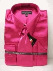 RA143 New fuchsia ~ hot Pink Satin Dress Shirt
