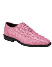 JSM-4962 Mens Plain Toe Pink Fuchsia Lace Up Oxford