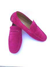 JSM-5026 Mens Slip-On Style Solid Fashionable Loafers Fuchsia ~