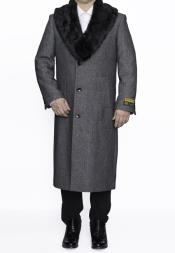 SM4834 Mens Removable Fur Collar Full Length Wool Dress