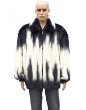 GD896 Mens Fur White/Black Full Skin Genuine Mink Full