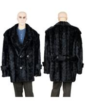 GD750 Mens Fur Black Mink Pea Coat With Mink