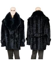 GD748 Mens Fur Black Mink Pea Coat With Full