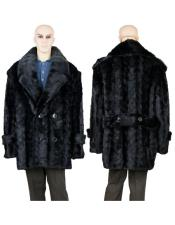 Mens Fur Pea Coat Black